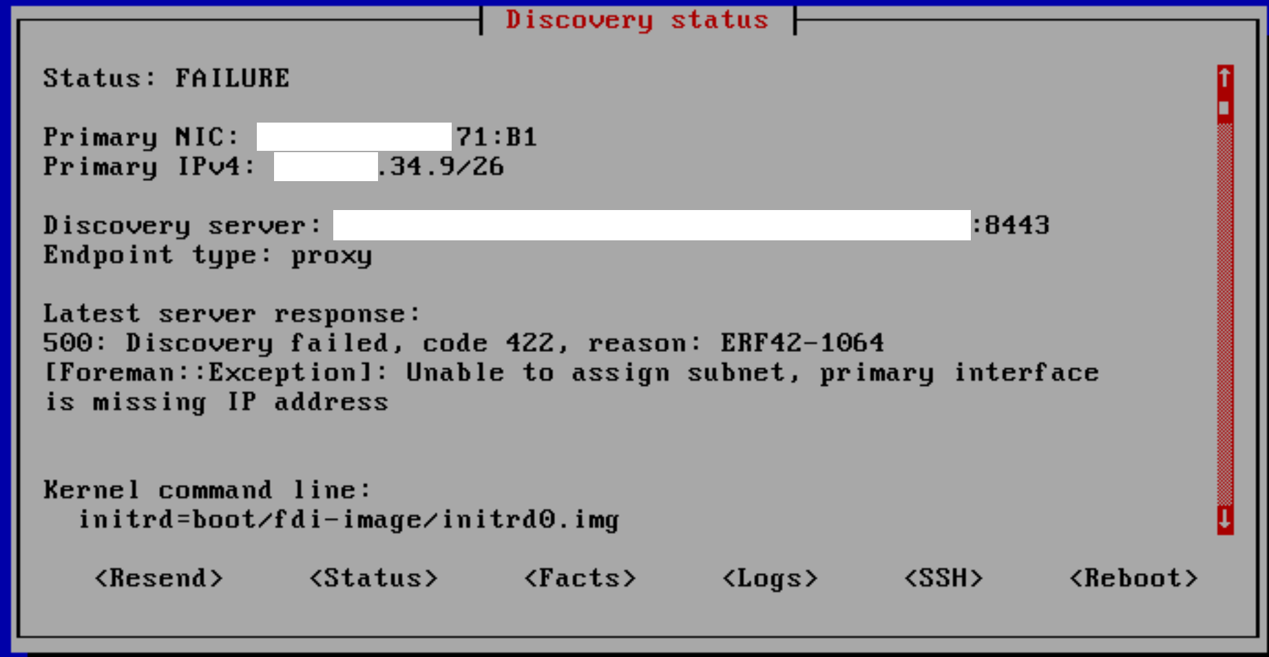 Discovery is failed ERF-42-1064 - Support - TheForeman
